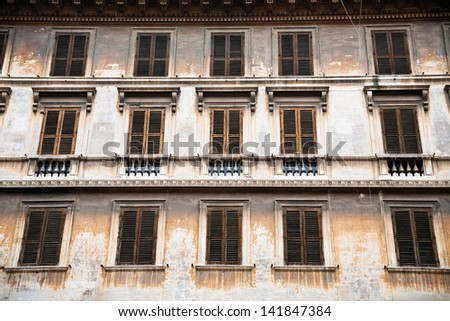facade of medieval house in Rome, Italy