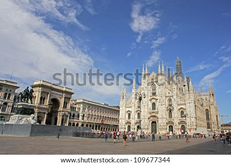 Facade of Milan Cathedral (Duomo), Lombardy, Italy - stock photo