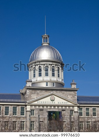 Facade of Montreal's Bonsecours Market in the old port district - stock photo