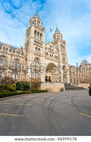 Facade of Natural History Museum, London. - stock photo