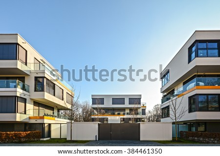 Facade of  new residential building, courtyard with new low-energy-standard - stock photo