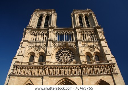 Facade of Notre Dame in Paris (France)