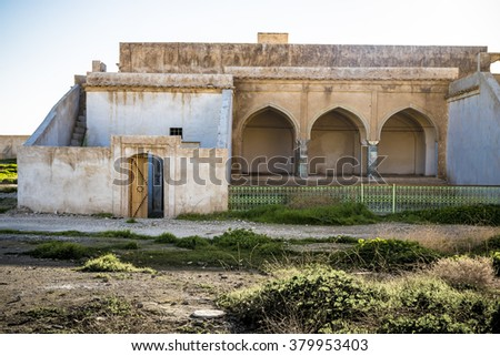 Facade of old abandoned building in Iraq