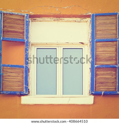 Facade of Old Building before Reconstruction in Tel Aviv, Instagram Effect - stock photo