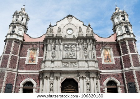 Facade of Our Lady of Guadalupe sanctuary in Mexico city - stock photo