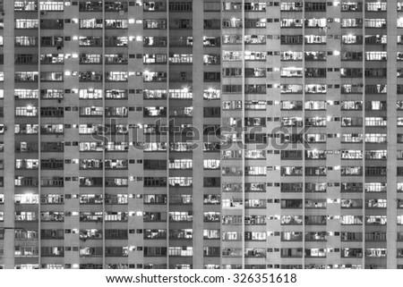 Facade of Public estate in Hong Kong - stock photo