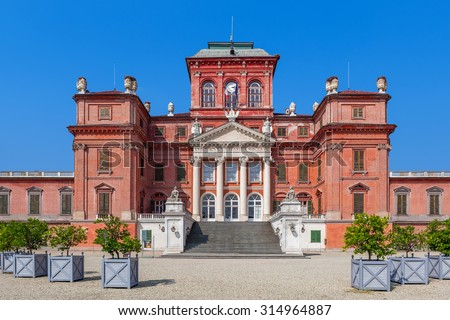 Facade of Racconigi palace - former Savoy house royal residence in Piedmont, Northern Italy.