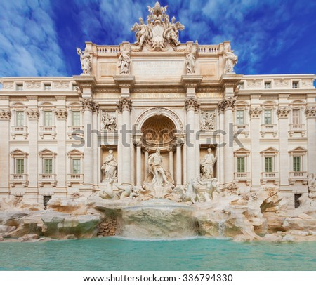 facade of restored Fountain di Trevi in Rome at day, Italy - stock photo