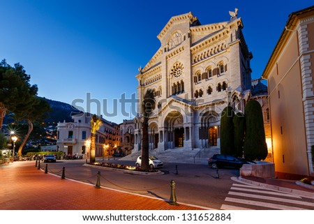 Facade of Saint Nicholas Cathedral in Monaco, Monte Carlo, France - stock photo
