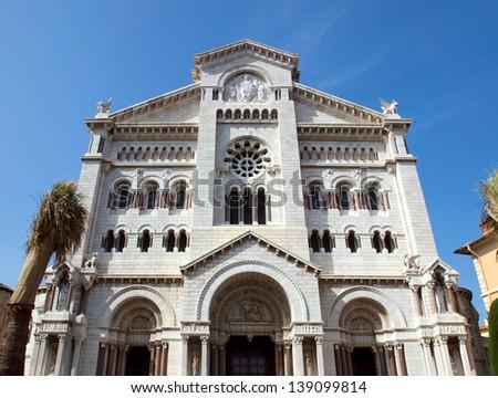 Facade of Saint Nicholas Cathedral. Monte Carlo. Monaco. - stock photo