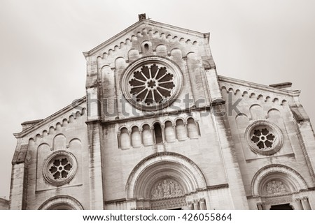 Facade of Saint Paul Church, Nimes, France in Black and White Sepia Tone - stock photo