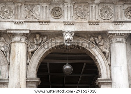 Facade of San Marcos - St Marks Square; Venice; Italy - stock photo