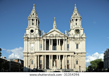 Facade of St Paul's, Cathedral, City of London, England, UK, one of the largest in the world, in early evening light.