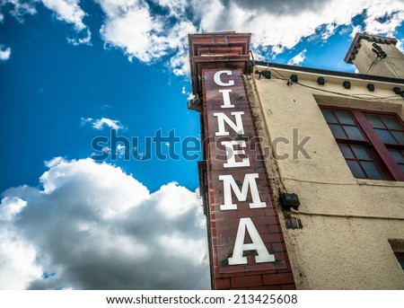 Facade of the Alhambra Cinema, in Keswick, which has been operating since 1913. - stock photo