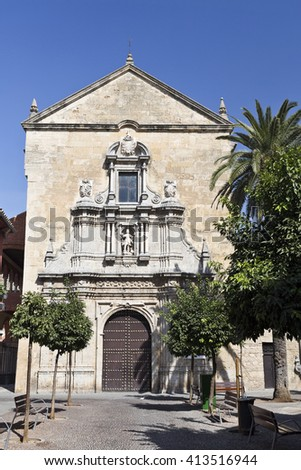 Facade of the baroque Church of Saint Francis and Saint Eulogius in Cordoba, Spain - stock photo