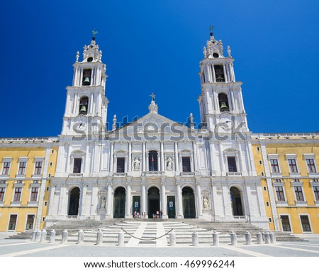 Facade of the Basilica at the Palace of Mafra, Portugal, a famous royal palace built in the 18th Century.