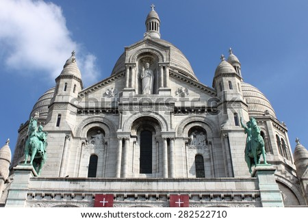 Facade of the Basilica of the Sacre Coeur in Paris, France - stock photo