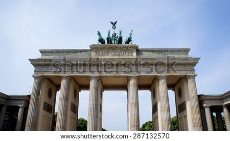 Facade of the Brandenburger Gate (Tor) Midday in Berlin, Germany