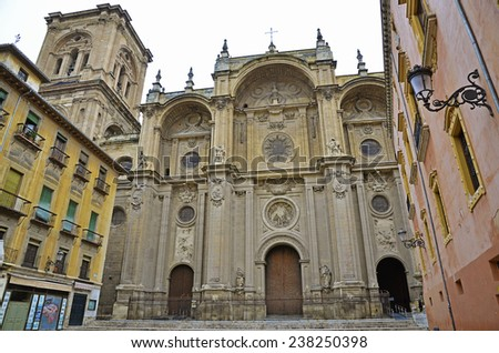 Facade of the cathedral, Granada, Spain  - stock photo