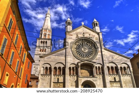Facade of the Cathedral, Modena, Emilia Romagna, Italy