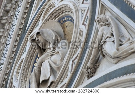 Facade of the Cathedral of Florence. Details.