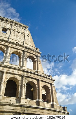 Facade of the Coliseum, Rome-Italy - stock photo