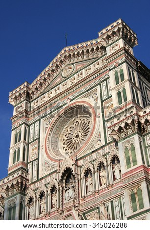 Facade of the Duomo cathedral, Firenze / Florence - stock photo