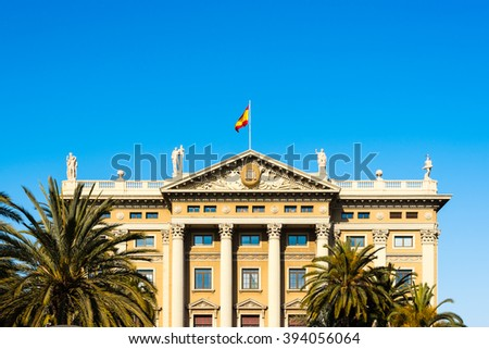 facade of the gobierno militare in barcelona - stock photo