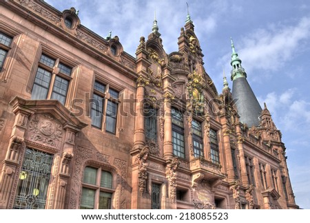Facade of the historical main building of Heidelberg University library in Germany