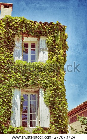 Facade of the house covered with green wild grapes in beautiful medieval village of Seguret, provence, France. Filtered image, vintage effect applied, grunge and scratch