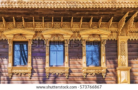 facade of the house decorated with beautiful Russian wood carving