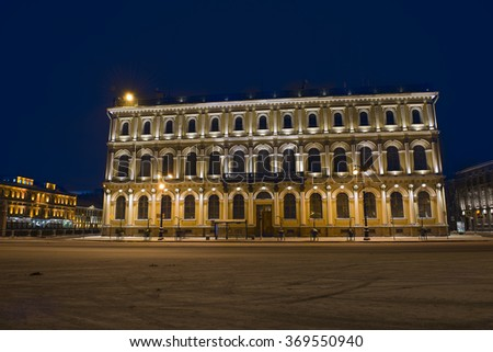facade of the house in the night St. Petersburg - stock photo