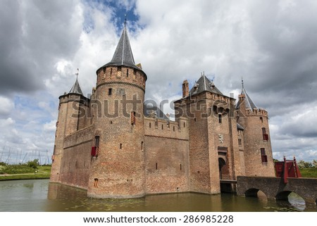 Facade of the medieval Muiderslot castle in Muiden, Noord-Holland, The Netherlands - stock photo
