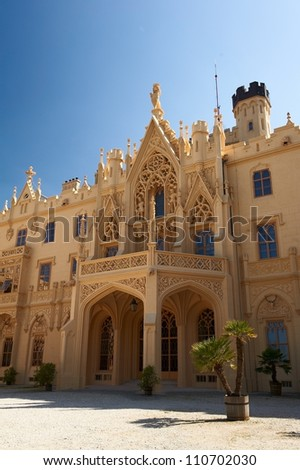 Facade of the neogothic Lednice castle - stock photo