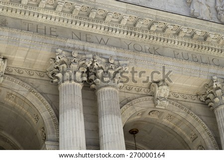 Facade of the New York Public Library, Midtown, Manhattan, New York City, New York State, USA - stock photo