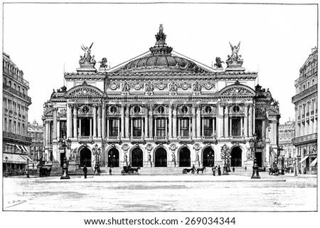 Facade of the opera, vintage engraved illustration. Paris - Auguste VITU  1890. - stock photo