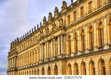 Facade of the Palace of Versailles - France - stock photo