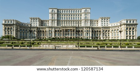 Facade of the Parliament Palace in Bucharest. - stock photo