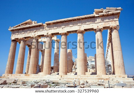 Facade of the Parthenon temple on the Athenian Acropolis, Greece