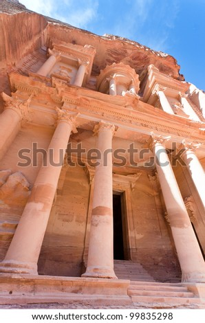 facade of The Treasury Monument in antique city Petra - stock photo