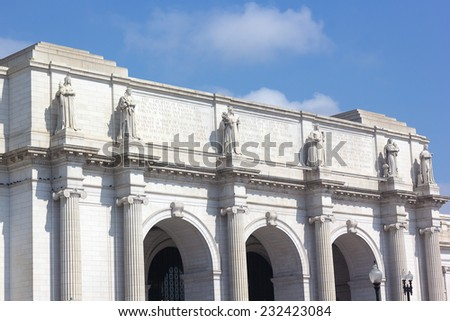 Facade of the Union Station Building in Washington DC. Marble statues on the facade of the Union Station Building. - stock photo