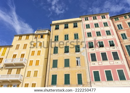 Facade of traditional apartment buildings in Camogli, Liguria, Italy