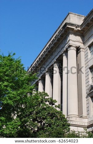 Facade of U.S. Department of Commerce, Washington, DC - stock photo