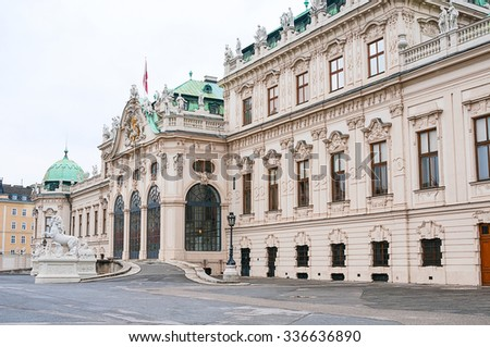 Facade of Upper Belvedere Palace in Vienna, Austria - stock photo