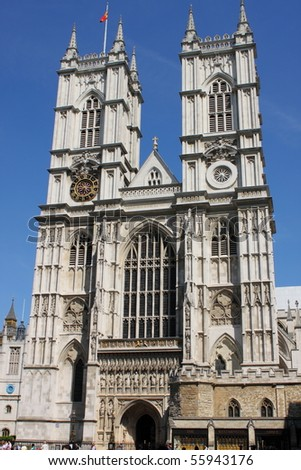 Facade of Westminster Abbey in London, UK - stock photo