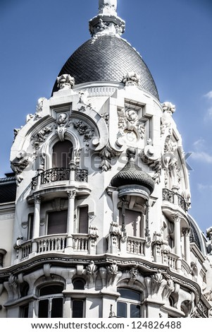 Facade of white building in Madrid, Spain ( HDR image ) - stock photo