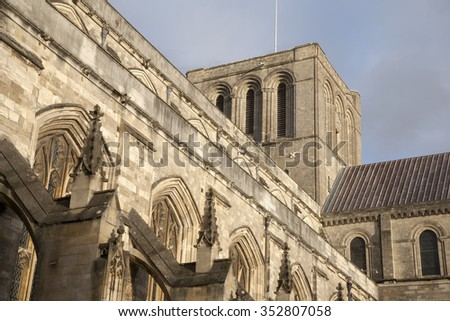 Facade of Winchester Cathedral, Hampshire, England