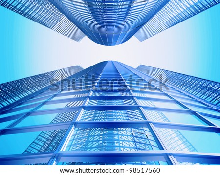 Facade - shapes from a modern building, with structural lines reflection