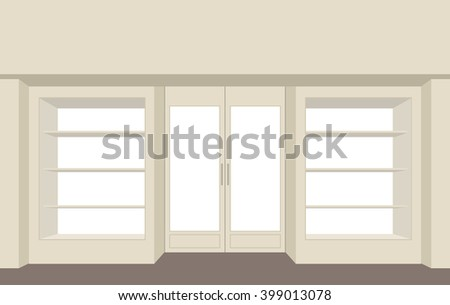 Facade shop. Empty storefront. Building for store. Showcases shelves window.