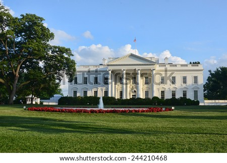 Facade view of the White House in Washington DC - stock photo
